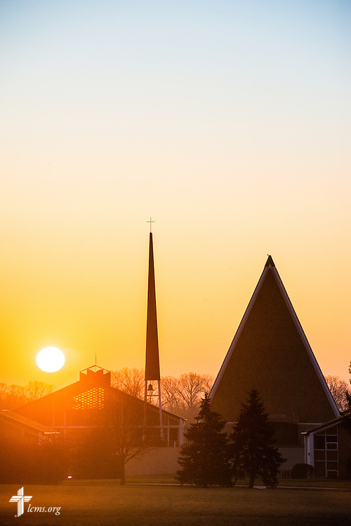 The sun rises over Concordia Theological Seminary, Fort Wayne, Ind., on Wednesday, April 1, 2015. LCMS Communications/Erik M. Lunsford