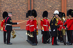 The 1st Battalion Coldstream Guards undergoes inspection by Major General Commanding the Household Division, Major General Ben Bathurst at Victoria Barracks in Windsor, Berkshire. The battalion has been chosen to Troop its Colour for the Queen's Birthday Parade on 9th June.  Before then these operational soldiers have to perfect hundreds of precision ceremonial drill moves and achieve a standard of turnout of uniform, equipment and bearing which is nothing short of excellence.  <br /> <br /> Victoria Barracks, Windsor, Berks, February 21 2018.