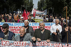 March 27, 2019 - Athens, Greece - Pensioners march to the prime minister's office at Maximos Mansion shouting slogans against austerity and cuts in social security. Pensioners' unions took to the streets to protest over pension cuts and demand return of their slashed pensions, as their income has been shrinking since Greece entered the bailout deals in 2010. (Credit Image: © Nikolas Georgiou/ZUMA Wire)