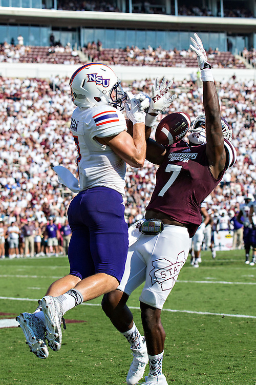 STARKVILLE, MS - SEPTEMBER 19:  Ed Eagan #7 of the Northwestern State Demons has a pass knocked away in the end zone by Tolando Cleveland #7 of the Mississippi State Bulldogs at Davis Wade Stadium on September 19, 2015 in Starkville, Mississippi.  The Bulldogs defeated the Demons 62-13.  (Photo by Wesley Hitt/Getty Images) *** Local Caption *** Ed Eagan; Tolando Cleveland