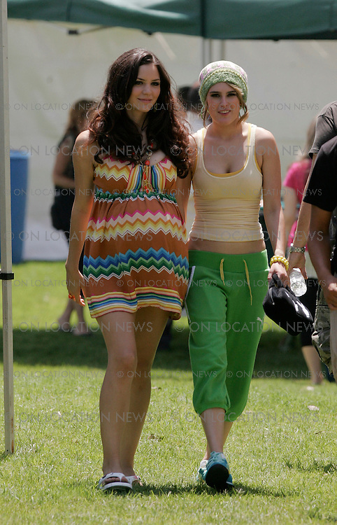 LOS ANGELES, CALIFORNIA - Tuesday 7th August 2007. NON EXCLUSIVE: Katherine McPhee and Rumor Willis as uncool sorority sisters film scenes for The House Bunny. Photograph: Buchan/Ford/On location News. Sales: Eric Ford 1/818-613-3955 info@OnLocationNews.com