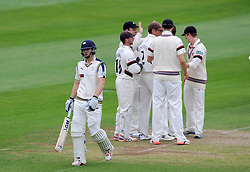 Dejection for Yorkshire's Alex Less after being dismissed by Somerset's Peter Trego for 34. Photo mandatory by-line: Harry Trump/JMP - Mobile: 07966 386802 - 24/05/15 - SPORT - CRICKET - LVCC County Championship - Division 1 - Day 1- Somerset v Sussex Sharks - The County Ground, Taunton, England.
