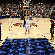 Breanna Stewart, UConn, shooting a free throw during the UConn Vs Cincinnati Quarterfinal Basketball game at the American Women's College Basketball Championships 2015 at Mohegan Sun Arena, Uncasville, Connecticut, USA. 7th March 2015. Photo Tim Clayton