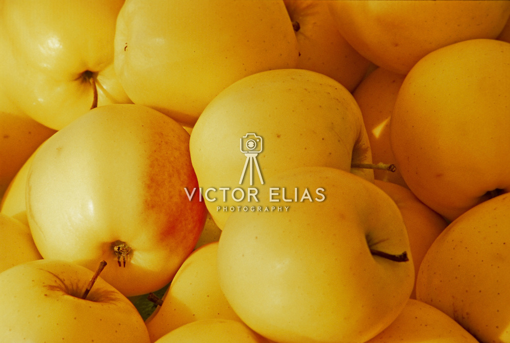 Close up of yellow apples. Mexico.