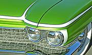 Detail of front light of a lime green Customised Vintage Hotrod car, Viva Las Vegas Festival, Las Vegas, USA 2006.
