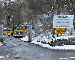 Pictured: Gritters leaving their council depot in Edinburgh on Thursday morning.<br /> <br /> The severe winter weather continued to cause chaos throughout Scotland, with the most severe level of Amber warning being extended until 10am on Friday 02 March.<br /> <br /> © Dave Johnston / EEm