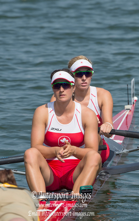 Rio de Janeiro. BRAZIL.  CAN W2-, Bow. <br />  Jennifer  MARTINS and Nicole HARE, 2016 Olympic Rowing Regatta. Lagoa Stadium,<br /> Copacabana,  &ldquo;Olympic Summer Games&rdquo;<br /> Rodrigo de Freitas Lagoon, Lagoa. Local Time 11:05:22  Tuesday  09/08/2016 <br /> [Mandatory Credit; Peter SPURRIER/Intersport Images]