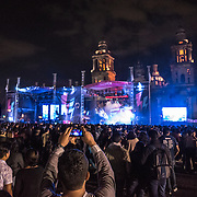 A stage is set up in the Zocalo in front of the Metropolitan Cathedral. Formally known as Plaza de la Constitución, the Zocalo is the historic heart of Mexico City.