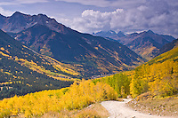 Ophir Pass Road above the old mining town of Ophir, San Juan Mountains, colorado.