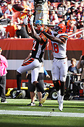 Cincinnati Bengals cornerback William Jackson (22) leaps and nearly intercepts a late fourth quarter end zone pass intended for Cleveland Browns wide receiver Kenny Britt (18) during the 2017 NFL week 4 regular season football game against the against the Cleveland Browns, Sunday, Oct. 1, 2017 in Cleveland. The Bengals won the game 31-7. (©Paul Anthony Spinelli)