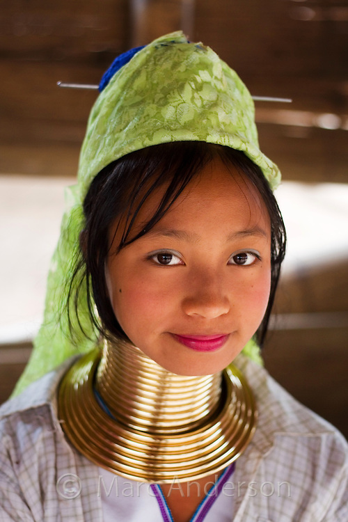Young woman from the Padaung long neck hill tribe near Tha Ton, Chiang Mai Province, Thailand