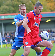 Ollie Lancashire & Michael Higdon during the Sky Bet League 1 match between Rochdale and Oldham Athletic at Spotland, Rochdale, England on 24 October 2015. Photo by Daniel Youngs.