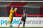 Ann-Katrin Berger (GK) (Chelsea) saves the ball during the FA Women's Super League match between Brighton and Hove Albion Women and Chelsea at The People's Pension Stadium, Crawley, England on 15 September 2019.