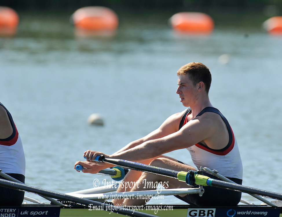 Caversham, Great Britain,  GBR JM2X. Sebastian Devereux (Leander Club)/<br /> <br /> <br /> Junior Training Camp,at the Redgrave Pinsent Rowing Lake. GB Rowing Training centre. Thursday  01/08/2013c  [Mandatory Credit. Peter Spurrier/Intersport Images]