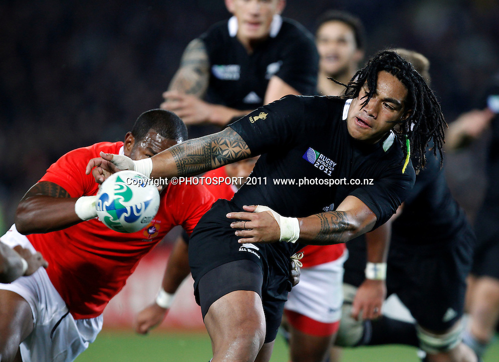 Ma'a Nonu of the All Blacks passes during the New Zealand All Blacks versus Tonga opening pool A match of the 2011 IRB Rugby World Cup. Eden Park, Auckland, New Zealand. Friday 9 September 2011. Photo: Simon Watts /Photosport.co.nz