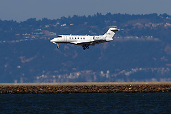 Bombardier Challenger 300 (N578XJ) operated by Xojet landing at San Francisco International Airport (KSFO), San Francisco, California, United States of America