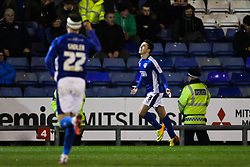 Oldham Athletic's Rhys Turner celebrates after scoring his sides third goal  - Photo mandatory by-line: Matt McNulty/JMP - Mobile: 07966 386802 - 24/03/2015 - SPORT - Football - Oldham - Boundary Park - Oldham Athletic v Rochdale - SkyBet League 1