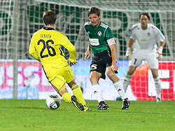 28.07.2011, Keine Sorgen Arena, Ried im Innkreis, AUT, UEFA EL Qualifikation, SV Josko Ried vs Brondby IF, im Bild Mike Jensen, (Brøndby IF, Midfield, #26), Oliver Glasner, (SV Josko Ried, #5) und Thomas Gebauer, (SV Josko Ried, #1) (v.l.n.r) // during football match between SV Josko Ried (AUT) and Brondby IF (DEN) 1st Leg of Europa League third Qualifying Round, on July 28, 2011 at Keine Sorgen Arena Ried im Innkreis, Austria. EXPA Pictures © 2011, PhotoCredit: EXPA/ R. Hackl