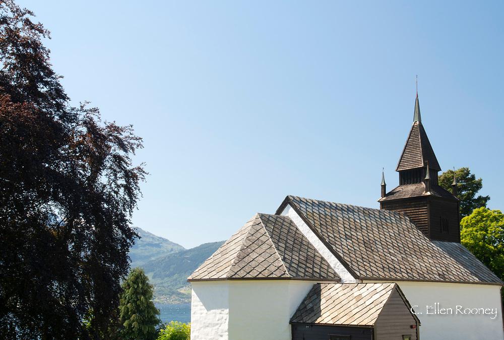 A distinctive slate roof on the Leikanger Church on Sogne Fjord, Vestlandet, Norway