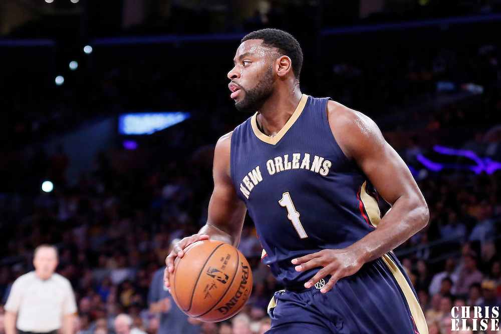 01 April 2015: New Orleans Pelicans guard Tyreke Evans (1) brings the ball up court during the New Orleans Pelicans 113-92 victory over the Los Angeles Lakers , at the Staples Center, Los Angeles, California, USA.