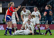 Referee Amy Perrett calls an infringement at the breakdown, England Women v France Women in a 6 Nations match at Twickenham Stadium, London, England, on 4th February 2017 Final Score 26-13.