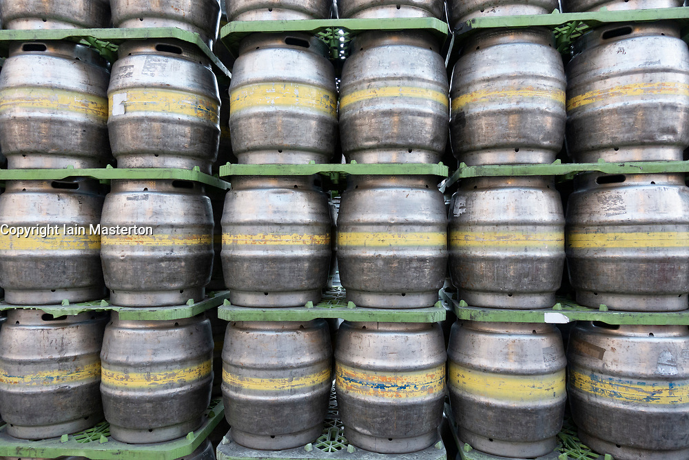 Rows of beer kegs at Tennent Caledonian Breweries  Wellpark Brewery in Glasgow, Scotland, UK