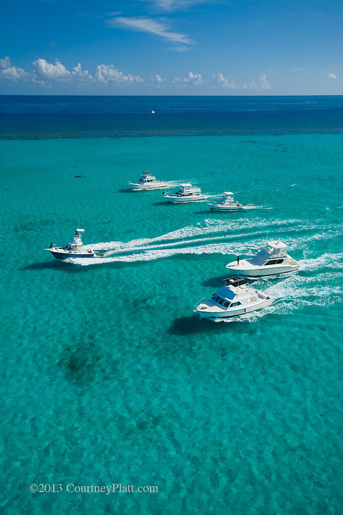 Aerial photo of charter boats in North Sound, Grand Cayman.  Featured on the cover of Grand Cayman Magazine.