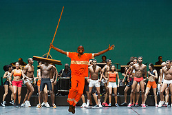 "© Licensed to London News Pictures. 07/07/2014. London, England. Renato Sorriso dancing at the front. Claudio Segovia's show ""Brasil Brasileiro"" opens at Sadler's Wells Theatre with 35 performers from Rio de Janeiro. Conceived and directed by Claudio Segovia, this Brazilian music and dance show runs from 8-27 July 2014.  Photo credit: Bettina Strenske/LNP"