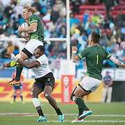 Werner Kok is tackled illegally as South Africa beat Fiji 19-12 in the Cup Final of the USA Sevens,  Round Five of the World Rugby HSBC Sevens Series in Las Vegas, Nevada, Sunday March 5, 2017. <br />