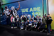 Seattle Seahawks fans arrive at Wembley during the International Series match between Oakland Raiders and Seattle Seahawks at Wembley Stadium, London, England on 14 October 2018.