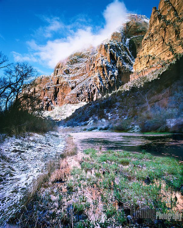 The Virgin river in winter, Zion National Park, Utah