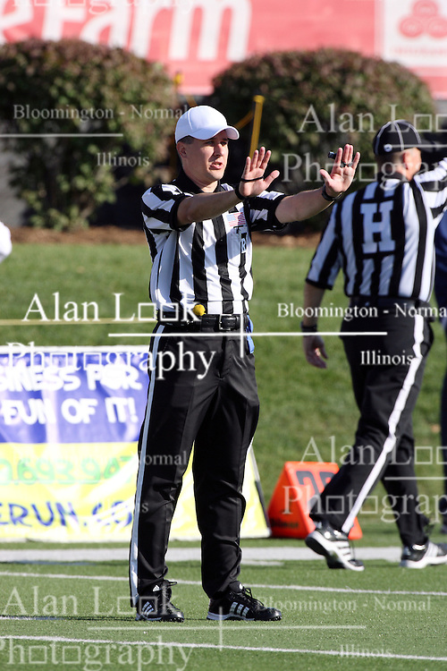 22 October 2011: Referee Mark Kluczynski makes a call during an NCAA football game  the Indiana State Sycamores lost to the Illinois State Redbirds (ISU) 17-14 at Hancock Stadium in Normal Illinois.