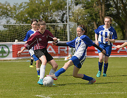 St John's NS Breaffy and St Angela's NS in action at the SPAR FAI Primary Schools 5's Connacht finals at Solar Park Mayo.<br /> Pic Conor McKeown