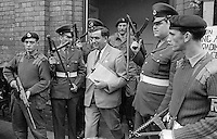 Denis Healey, UK Minister for Defence, in Belfast, N Ireland, during a visit to peace-keeping troops serving in the Province, 18th September 1969, 196909180253c. <br /> <br /> Copyright Image from Victor Patterson, 54 Dorchester Park, Belfast, UK, BT9 6RJ<br /> <br /> t1: +44 28 9066 1296<br /> t2: +44 28 9002 2446<br /> m: +44 7802 353836<br /> <br /> e1: victorpatterson@me.com<br /> e2: victorpatterson@gmail.com<br /> <br /> IMPORTANT: My Terms and Conditions of Business are at www.victorpatterson.com
