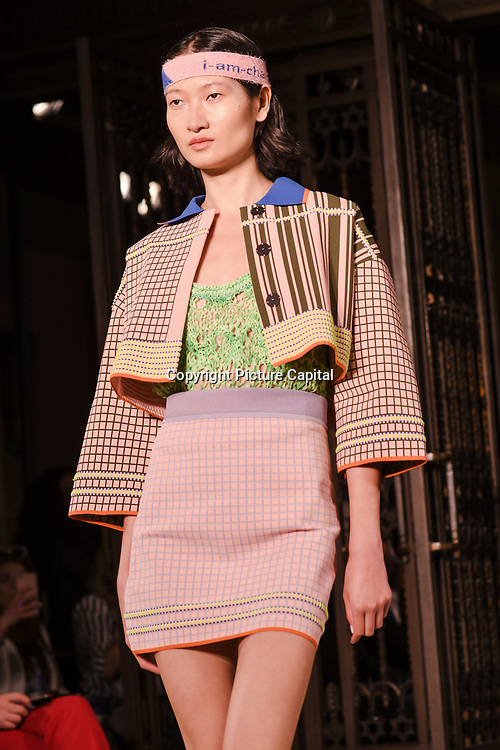 Designer I-Am-Chen showcases is latest collection at Fashion Scout - SS19 at Freemasons Hall, London, UK. 14 September 2018.