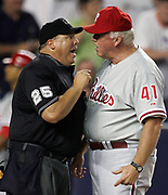 Home plate umpire, Fieldin Culbreth argues with Philadelphia Phillies Manager, Charlie Manuel over Culbreth's calling out  Kenny Lofton at home plate during a baseball game, Aug. 30, 2005 in New York.