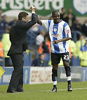 Photo: Aidan Ellis.<br /> Sheffield Wednesday v Norwich City. Coca Cola Championship. 06/05/2007.<br /> Sheffield 's Jermain Johnson celebrates his goal with msanager Brian Laws