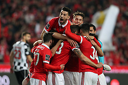 February 17, 2018 - Lisbon, Portugal - Benfica's Portuguese defender Ruben Dias (66) celebrates with teammates after scoring during the Portuguese League football match SL Benfica vs Boavista FC at the Luz stadium in Lisbon on February 17, 2018. (Credit Image: © Pedro Fiuza/NurPhoto via ZUMA Press)