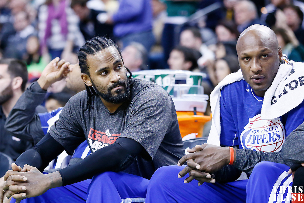 03 February 2013: Los Angeles Clippers center Ronny Turiaf (21) and Los Angeles Clippers power forward Lamar Odom (7) are seen on the bench during the Boston Celtics 106-104 victory over the Los Angeles Clippers at the TD Garden, Boston, Massachusetts, USA.