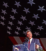 President Bill Clinton speaks under a giant American flag.