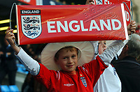 """01/06/04 - MANCHESTER - ENGLAND - JAPAN NATIONAL TEAM - JAPAN (1)  Vs.ENGLAND (1)  at MANCHESTER CITY STADIUM. Friendly match for the """"FA SUMMER TOURNAMENT""""<br />ENLGAND young supporters / fans/<br />© Gabriel Piko"""