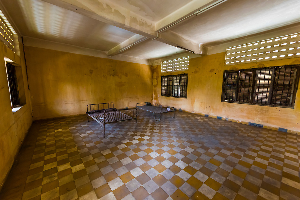 Tuol Seng Genocide Museum; originally a school, it was turned into the Khmer Rouge Torture headquarters. Men, women and children were tortured and killed before being moved under darkness to be buried in mass graves at the Killing Fileds of Choeung Ek (outside the city); Phnom Penh, Cambodia.