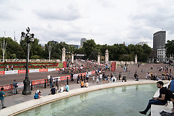 The peloton approaches the Buckingham Palace during the Prudential RideLondon Classique, a 68 km road race starting and finishing in London, United Kingdom on August 3, 2019. Photo by Balint Hamvas/velofocus.com