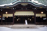 A priest brushes the floor of the main hall at  Meiji Jingu Shrine after the year's first snowfall in Tokyo, Japan on 02 Feb. 2010.