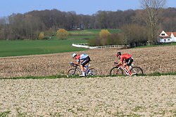 The breakaway group led by Luxembourg National Champion Bob Jungels (LUX) Deceuninck-Quick Step and Marc Hirschi (SUI) Team Sunweb on Elsstraat during the 2019 E3 Harelbeke Binck Bank Classic 2019 running 203.9km from Harelbeke to Harelbeke, Belgium. 29th March 2019.<br /> Picture: Eoin Clarke | Cyclefile<br /> <br /> All photos usage must carry mandatory copyright credit (© Cyclefile | Eoin Clarke)