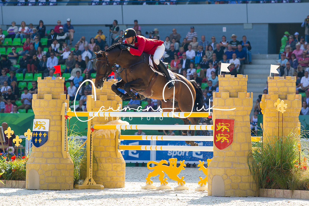 Gregory Wathelet, (BEL), Conrad De Hus - First Round Team Competition Jumping Speed - Alltech FEI World Equestrian Games™ 2014 - Normandy, France.<br /> © Hippo Foto Team - Leanjo De Koster<br /> 03-09-14