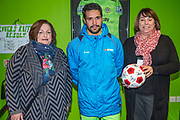 Forest Green Rovers Fabien Robert(26) with match ball sponsor Leaders during the Vanarama National League match between Forest Green Rovers and Solihull Moors at the New Lawn, Forest Green, United Kingdom on 21 March 2017. Photo by Shane Healey.