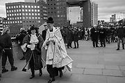 Mayor of Southwark and Philip Warner Cardinal Pastor of St. Magnus the Martyr, The Blessing of the river, St. Magnus the Martyr and Southwark Cathedral join on London Bridge to Bless the river Thames. 13 January 2019