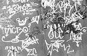 Tags graffiti, Regents Canal, London, UK, 1985