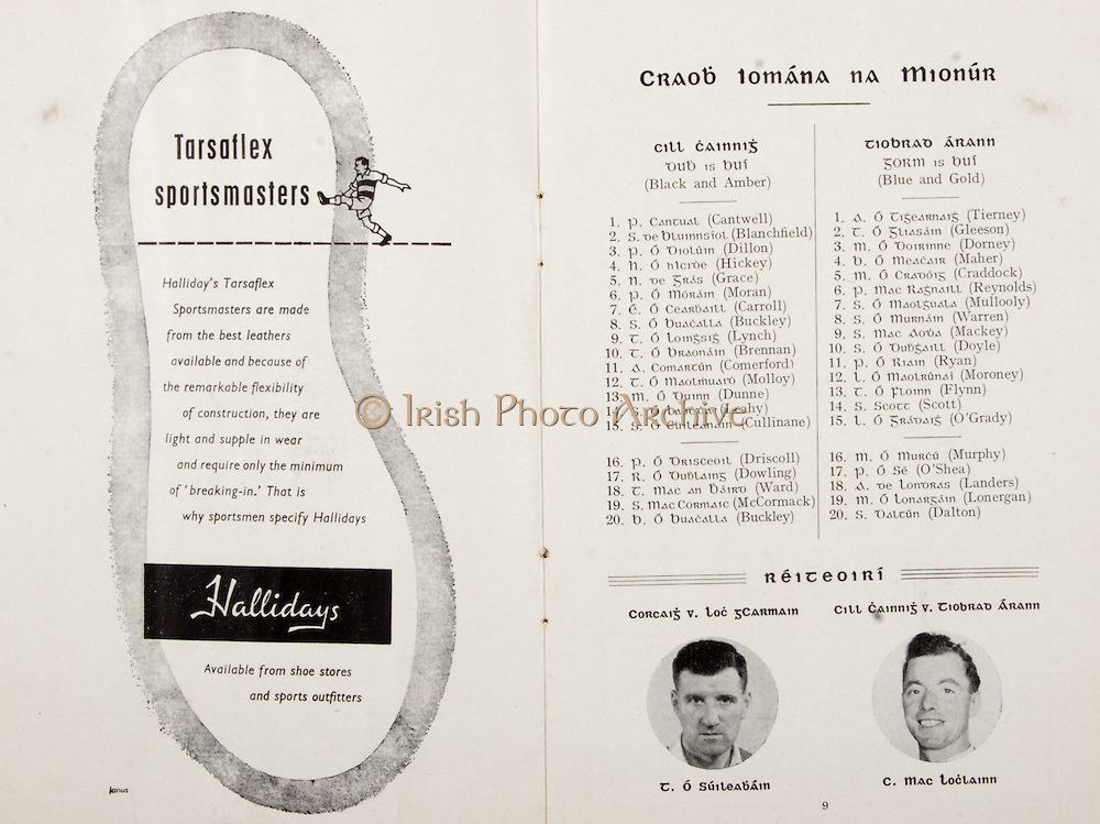 GAA All Ireland Hurling Finals up to 1970,.Brochures, Championship Final,.23.09.1956, 09.23.1956, 23rd September 1956,.Minor Kilkenny v Tipperary, .Senior Cork v Wexford,..Advertisement, Hallidays,..Kilkenny team should be amended to  W.Barry, J.Blanchfield, P.Dillon, H.Hickey, J.Cormack, P.Moran, T.Carroll,<br />